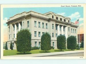 Unused Linen COURT HOUSE Fremont Nebraska NE v4073