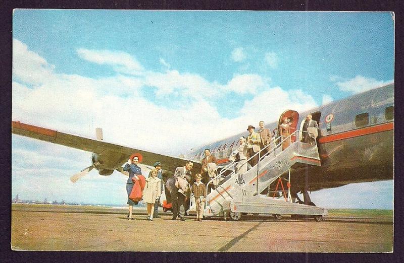 American Airlines DC-6 deplaning unused c1950's
