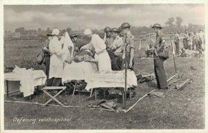 Military Dutch postcard Oefening veldhospitaal RPPC 3.30