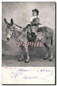 Postcard Old Child on a donkey