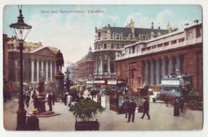 P1094 old card unused street scene people horse wagons etc london england