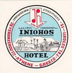 GREECE ATHENS INIOHOS HOTEL VINTAGE LUGGAGE LABEL