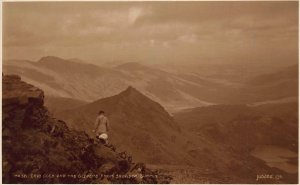 Crib Goch and The Glyders from Snowdon Summit Landscape Postcard