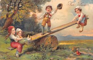 PFB See Saw~Children on Homemade Teeter Totter~Log in Woods~1907 Emboss PC~#6943