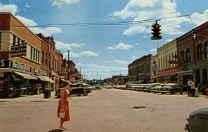 MT - Kalispell. Looking South on Main Street from Second Street, 1950's