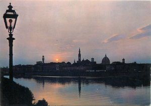 Postcard Italy FIRENZE A night view of the Arno