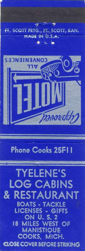 Manistique Cooks, Michigan/MI Match Cover, Tyelene's Cabins