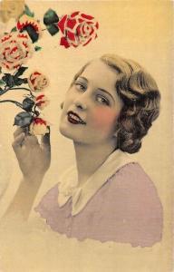 Blushing Beautiful Lady Woman Make-up, Roses Flowers, Postcard
