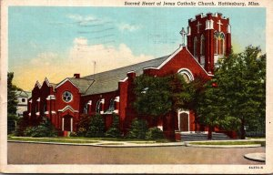 Mississippi Hattiesburg Sacred Heart Of Jesus Catholic Church 1943 Curteich