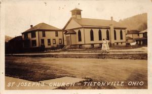 E84/ Tiltonville Ohio RPPC Postcard Jefferson County c1920 St Josephs Church