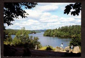 NY Seventh Lake Fulton Chain of Adirondacks Rt 28 View Inlet New York Postcard