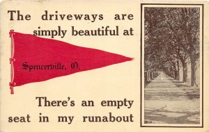 F54/ Spencerville Ohio Postcard 1912 Pennant Simply Beautiful