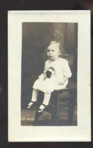 RPPC CANEY KANSAS CUTE BABY GIRL EMPORIA KANS. KELLER REAL PHOTO POSTCARD 1915