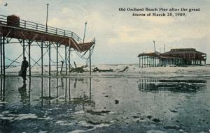 OLD ORCHARD BEACH , Maine , 1900-10s ; Pier After Great Storm 1909