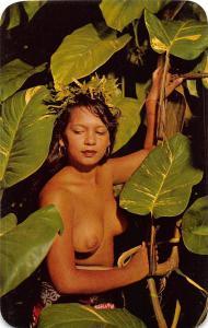 E7/ Tahiti Postcard Chrome Native Nude Woman 7