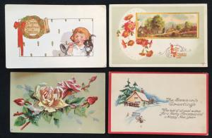 Postcard (4) Christmas Addressed but not mailed Girl/Cat/Outdoors LB