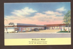 WILLIAMS ARIZONA ROUTE 66 WILLIAMS MOTEL LINEN ADVERTISING POSTCARD