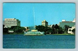 Orlando FL- Florida, Centennial Fountain, Lake Eola, Chrome Postcard