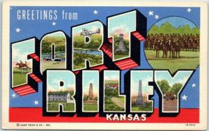 FORT RILEY Kansas Large Letter Postcard Army Military WWII Linen c1940s Unused