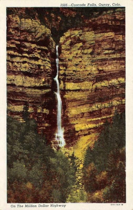 OURAY, CO Colorado  CASCADE FALLS~On The Million Dollar Highway c1940's Postcard