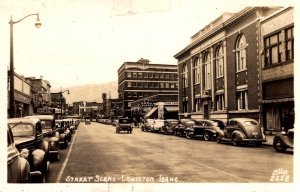 RPPC - Lewiston, Idaho - Showing a busy day Downtown - in 1945