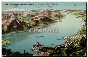 Switzerland Old Postcard Chillon and panorama of Leman