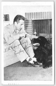 Humphrey Bogart~Newfoundland Dog~Fireplace~Signature Facsimile~WWII Pitch~1945