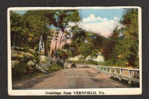 PA Greetings from VERNFIELD PENN Postcard Old Car Ad Postcard Pennsylvania