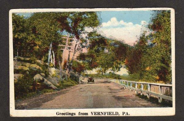 PA Greetings from VERNFIELD PENN Postcard Old Car Ad PC