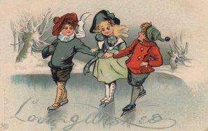 Three Ice Skating Children , 1901-07