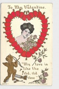 ANTIQUE VINTAGE VALENTINE POSTCARD WOMAN GIRL HEARTS AND ARROWS CUPID ROSES LOUN