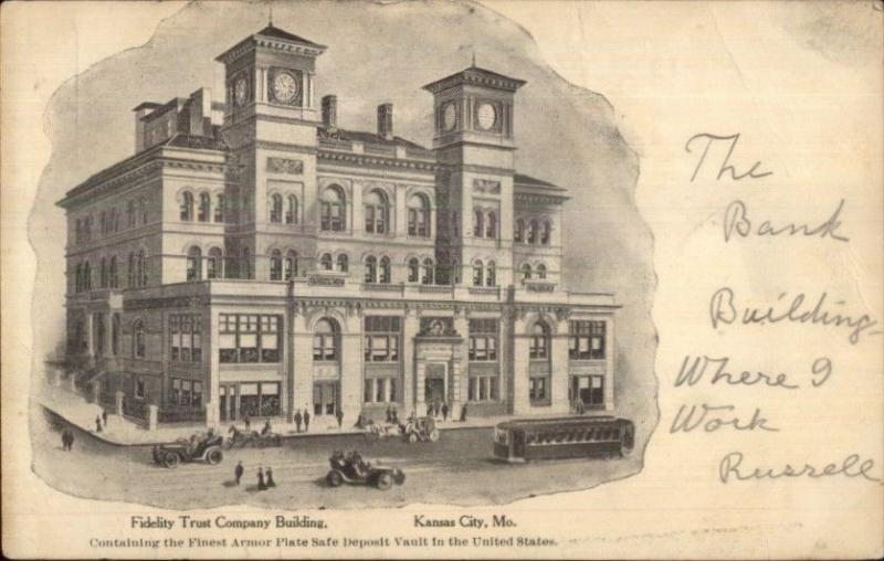 Kansas City MO Fidelity Trust Co Bank c1905 UDB Postcard / HipPostcard