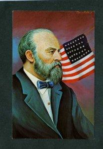 Art Painting President James Garfield Artist Signed Morris Katz Political PC