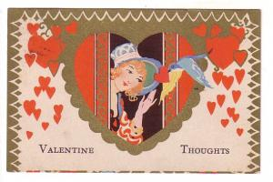 Woman in Heart with Bluebird, Valentine, Dayspring Nova Scotia Split Ring Cancel
