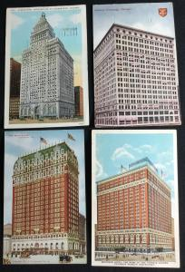 Postcards (4) Hotels Buildings Chicago IL 2 Used 2 Unused LB