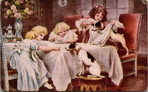 A BIRTHDAY PARTY - JACK RUSSELL TERRIER  - DOGS - GIRLS KIDS - VINTAGE POSTCARD