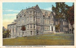 Chambersburg Pennsylvania Thompson Music Hall Antique Postcard K22410