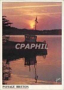 Postcard Modern Landscape Breton boat