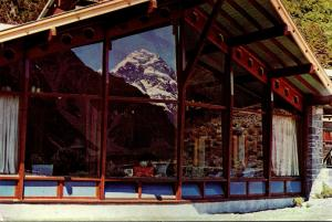 New Zealand Mount Cook Reflected In The Hermitage Lounge Window