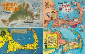 Cape Cod Marthas Vineyard 4x Massachusettes Map Postcard s