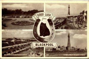 Vintage Postcard Good Luck from Blackpool, Stanley Park, Tower, Postmark 1957
