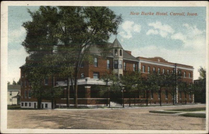 Carroll Iowa Ia New Burke Hotel C1920 Postcard