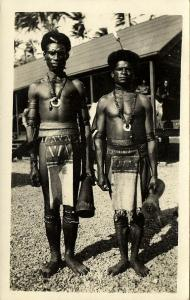 fiji islands (?), Native Men with Hand Drum, Necklace Jewelry (1920s) RPPC