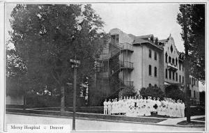 Denver Colorado~Mercy Hospital~Group of Nurses in Uniform Front~Street Signs~'20