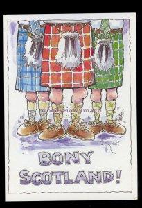 BES0026 - Bony Scotland - Knobbly Knees under Kilts - comic postcard by Besley