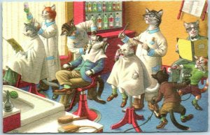 Vintage Artist-Signed ALFRED MAINZER Postcard Cats Barber Shop Shaving Unused