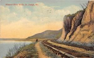 Missouri St Joseph  Missouri River Bluffs Railroad Track, River