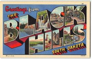 BLACK HILLS, SOUTH DAKOTA Large Letter Linen Postcard, Curteich 1937 Paha-Sapa