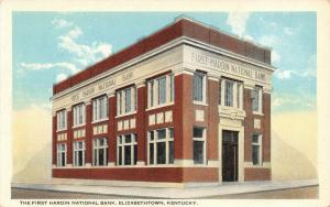 Elizabethtown Kentucky~Lonely Two-Story 1st Hardin National Bank~1920s Postcard