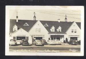 RPPC OCEAN LAKE OREGON WINCHESTER HOUSE 1940's CARS OLD REAL PHOTO POSTCARD